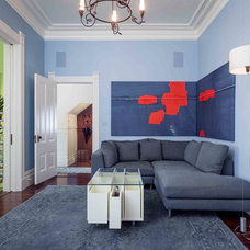 Transitional Family Room by Susan Diana Harris Interior Design