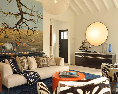 Eclectic Open Concept Family Room Photo In San Francisco With White Walls Part 67