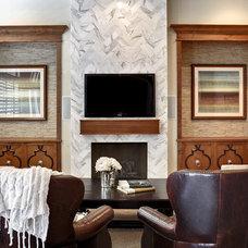 Transitional Family Room by J & J Design Group, LLC.