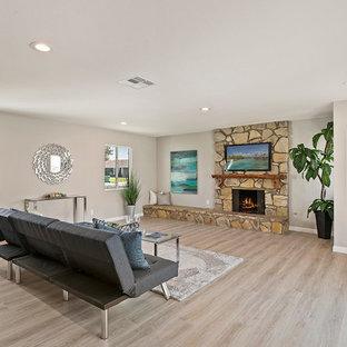 オレンジカウンティの中サイズのトラディショナルスタイルのおしゃれな独立型ファミリールーム (グレーの壁、クッションフロア、標準型暖炉、石材の暖炉まわり、壁掛け型テレビ、ベージュの床) の写真