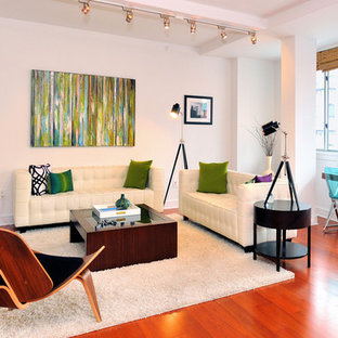 Transitional medium tone wood floor family room photo in New York with white walls, no fireplace and a wall-mounted tv