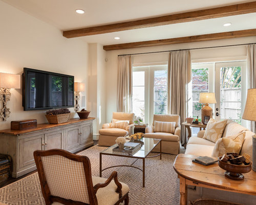 Mid Sized Traditional Enclosed Family Room Idea In Houston With Beige Walls,  A Wall Part 63