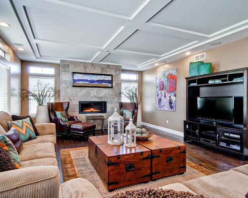 Inspiration For A Contemporary Family Room Remodel In Denver With Beige  Walls. Save Photo. Oakwood Homes
