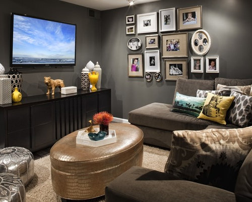 Small tv room houzz - Tv small spaces design ...