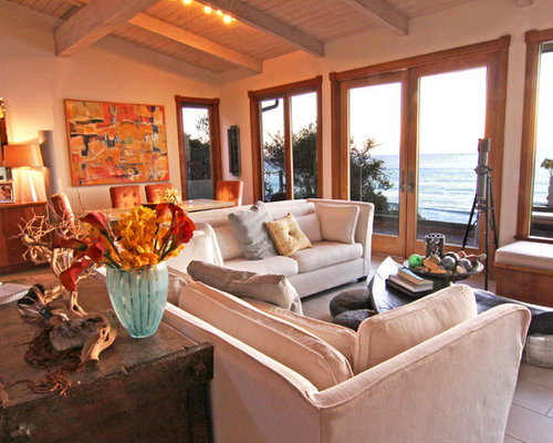 Inspiration For An Eclectic Open Concept Family Room Remodel In San Diego  With Beige Walls