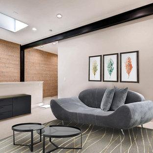 デンバーの大きいミッドセンチュリースタイルのおしゃれなロフトリビング (紫の壁、レンガの床、グレーの床) の写真