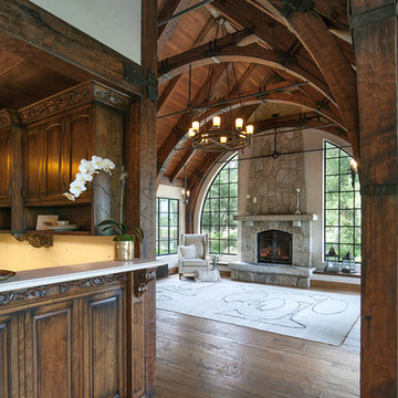 Old World European Kitchen and Family Room