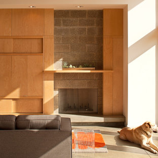 Minimalist family room photo in Seattle with a concrete fireplace