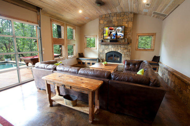 Rustic Family Room by Wright-Built