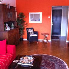 Asian Family Room Orange wall, asian inspiration
