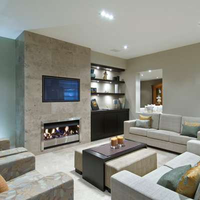 Family room - contemporary family room idea in Auckland with a tile fireplace