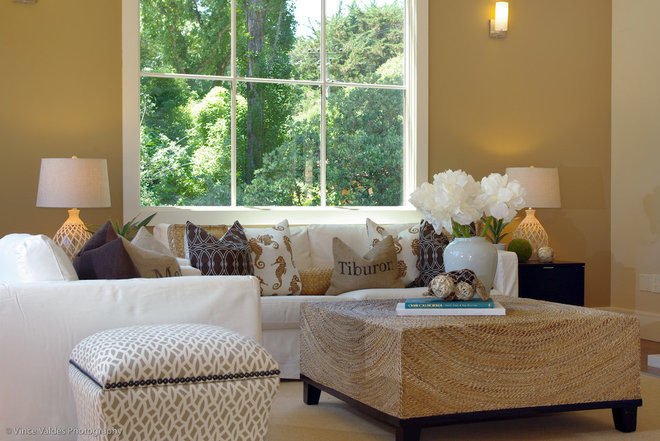 beach style family room by Lisa Benbow - Garnish Designs