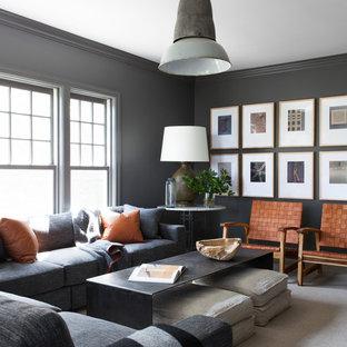ニューヨークのインダストリアルスタイルのおしゃれなファミリールーム (グレーの壁、カーペット敷き、ベージュの床) の写真