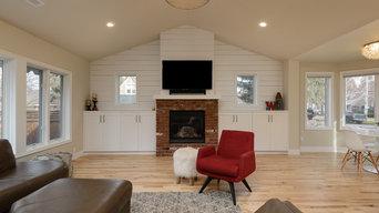 original fireplace with shiplap surround