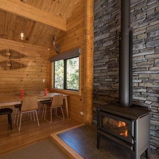 クライストチャーチの中サイズの北欧スタイルのおしゃれなファミリールーム (カーペット敷き、標準型暖炉、石材の暖炉まわり) の写真
