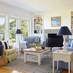 Inspiration For A Beach Style Medium Tone Wood Floor And Brown Floor Family  Room Remodel In