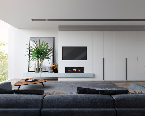 inspiration for a modern open concept family room in melbourne with white walls a ribbon - Family Room Design Ideas