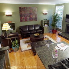 Transitional Family Room by A&A Design Build Remodeling, Inc.