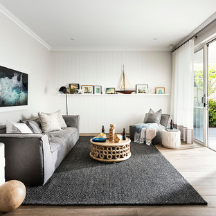 This is an example of a beach style family room in Perth.