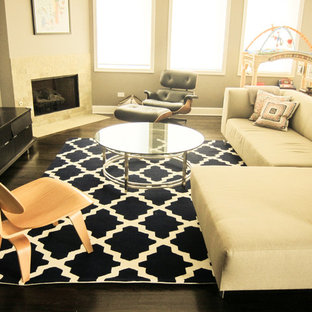 Trendy family room photo in Chicago with a corner fireplace