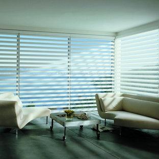 Immagine di un grande soggiorno minimalista chiuso con pareti grigie, pavimento in ardesia, nessun camino e nessuna TV