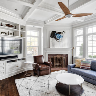 Large transitional open concept medium tone wood floor and brown floor family room photo in New York with white walls, a corner fireplace, a tile fireplace and a wall-mounted tv