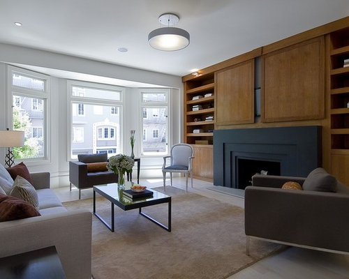 Example Of A Trendy Family Room Design In San Francisco With White Walls, A  Standard Part 45