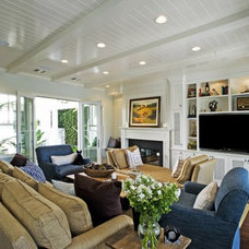 Beach Style Family Room by Jill Wolff Interior Design