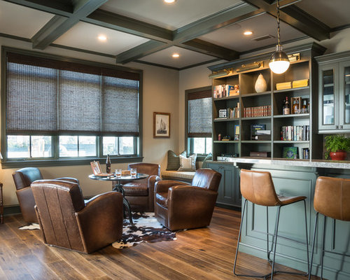 Coastal medium tone wood floor seated home bar photo in Los Angeles with  glass front 30 All Time Favorite Home Bar Ideas Designs Houzz