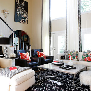 Large Trendy Enclosed Light Wood Floor And Beige Family Room Photo In Atlanta With