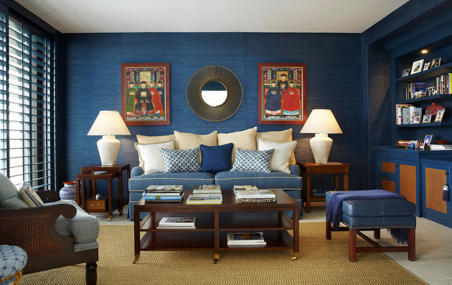 Transitional Family Room by Annie Santulli Designs
