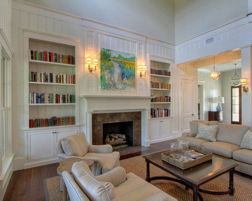 ceiling mounted tv ideas - Bookshelves Around Fireplace