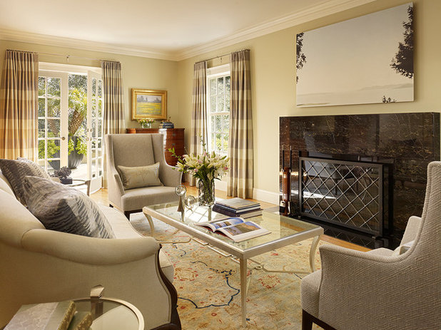Transitional Family Room by Coddington Design