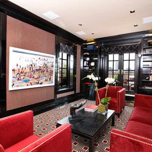 Foto di un grande soggiorno minimal chiuso con pareti grigie, moquette, nessun camino e TV a parete