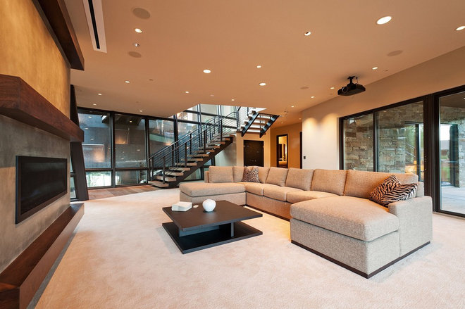 Contemporary Family Room by CD Construction, Inc.