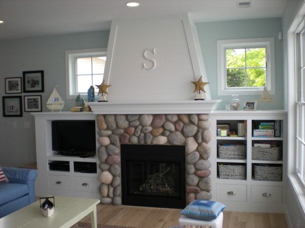 Beach Style Family Room by Cottage Home, Inc.