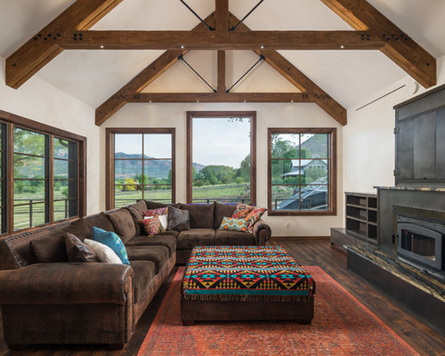 best family room with a wood stove design ideas remodel pictures houzz - Wood Stove Design Ideas