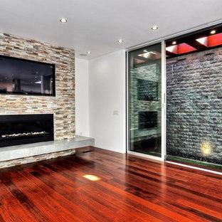 Idées déco pour une grande salle de séjour contemporaine ouverte avec un mur blanc, un sol en bois foncé, une cheminée ribbon, un manteau de cheminée en pierre et un téléviseur dissimulé.