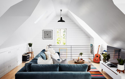 Garage Attic Converted Into a Stylish Teen Hangout