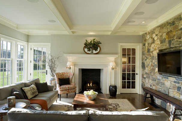 Farmhouse Family Room by Dewson Construction Company