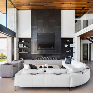 Inspiration for a contemporary open concept beige floor family room remodel in Orange County with white walls, a ribbon fireplace and a wall-mounted tv