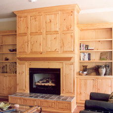 Rustic Family Room by Mike Rupert Cabinets