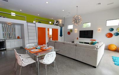 Houzz Tour: Splashy Colors Spark a Contemporary Guesthouse