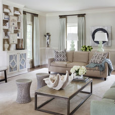 Transitional Family Room by Tobi Fairley Interior Design