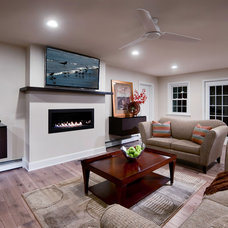 Transitional Family Room by CUSTOM CRAFT CONTRACTORS INC