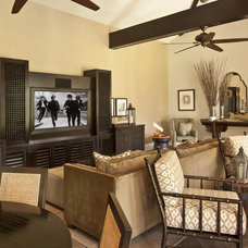 Mediterranean Home Theater by Dayna Katlin Interiors