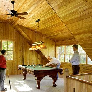 Foto di un soggiorno minimal con sala giochi