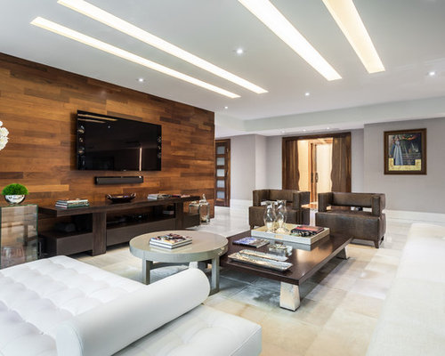 Inspiration For A Large Contemporary Open Concept Family Room Remodel In Miami With Wall