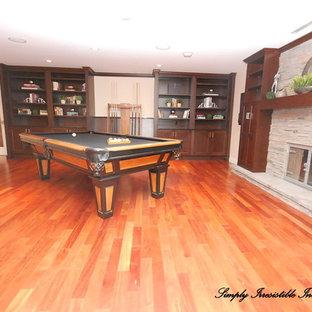 Example of a minimalist family room design in Edmonton
