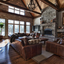 Rustic Family Room Princiotta Custom Homes